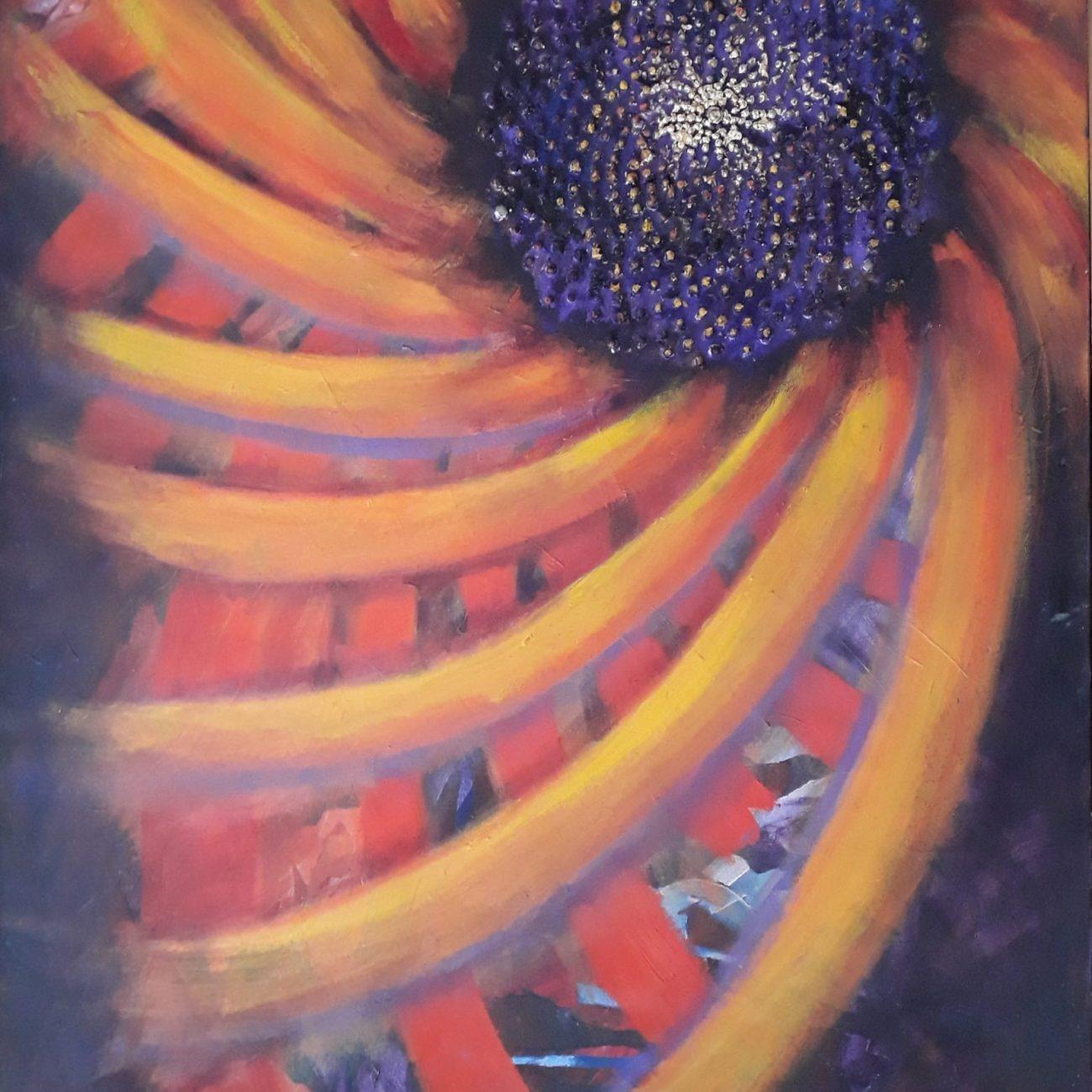 Kozmik Geometri Ayçiçeği  Teknik Tuval Üzeri Yağlı Boya Ölçü:90x140 cm  Fiyat:6000 TL