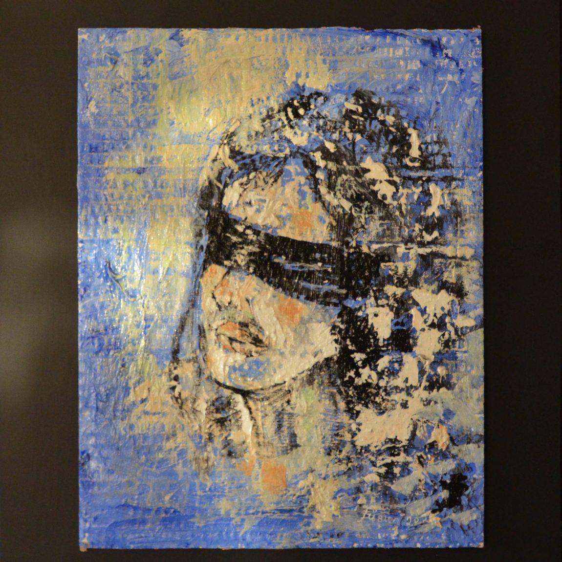 Gözleri Bağlı Kadın Teknik:Mukavva Üzeri Akrilik  Ölçü:33x26 cm