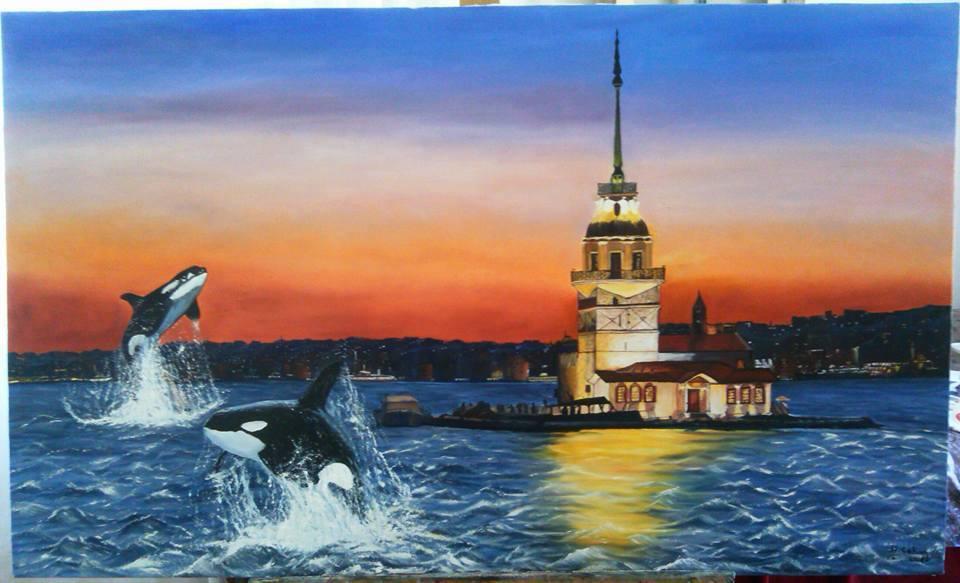 Marmarada Balinalar  Teknik:Tuval Üzeri Yağlı Boya Ölçü:60x100 cm   Fiyat:1500 TL