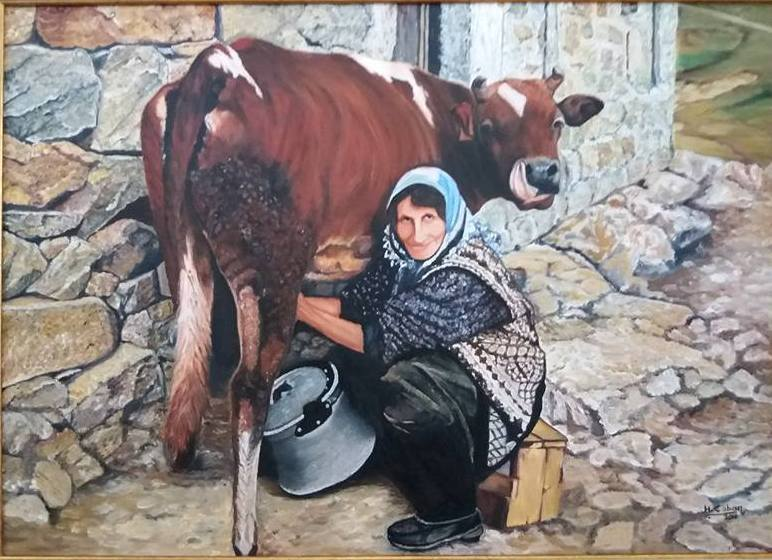 Süt Sağan Kadın  Teknik:Tuval Üzeri Yağlı Boya Ölçü:50x70 cm  Fiyat :800 TL