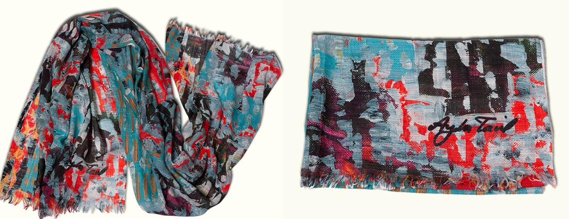 This collection is made out of individually curated exclusive foulards , representing unique art masterpieces by Ayda Tavil. Product details :180x70 cm  Cotton , bambu and pa Dry clean only Price:550 TL Made in İstanbul , Turkey