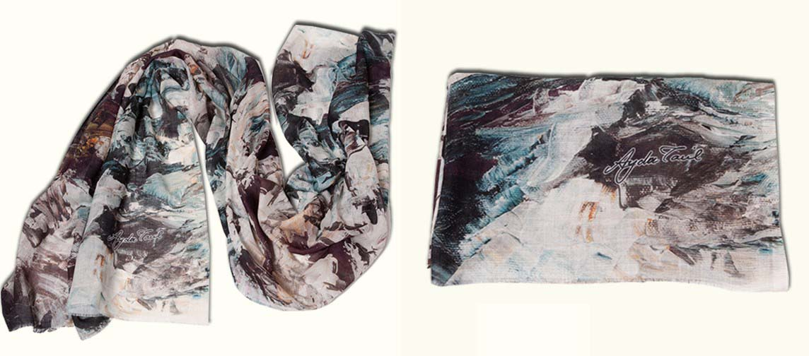 Glacial  This collection is made out of individually curated exclusive foulards , representing unique art masterpieces by Ayda Tavil. Product details :180x70 cm  Cotton , bambu and pa Dry clean only Price:550 TL Made in İstanbul , Turkey