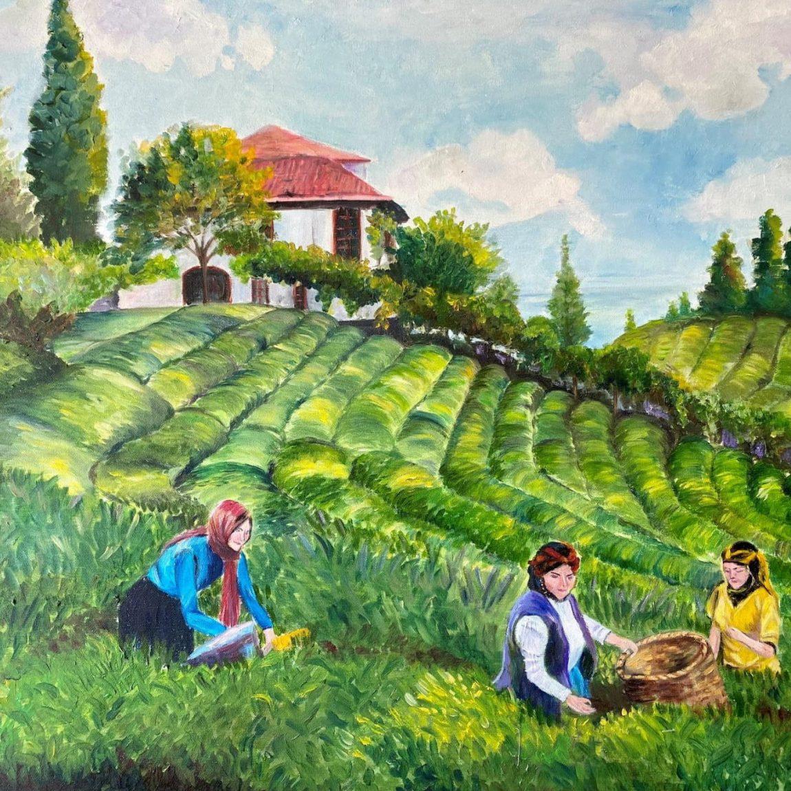 Çay Toplayan Kadınlar  Teknik : Yağlı Boya  Ölçü : 65 x 55 cm  Fiyat : 1000 TL