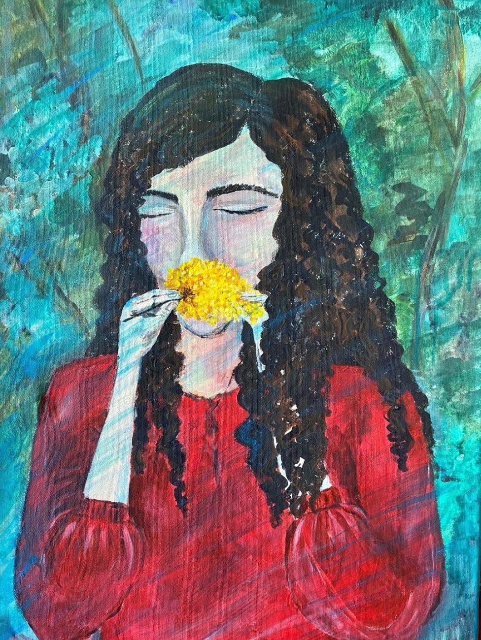 Çiçek Koklayan kız  Teknik : Guaj Boya  Ölçü : 60 x 35 cm  Fiyat 1000 TL