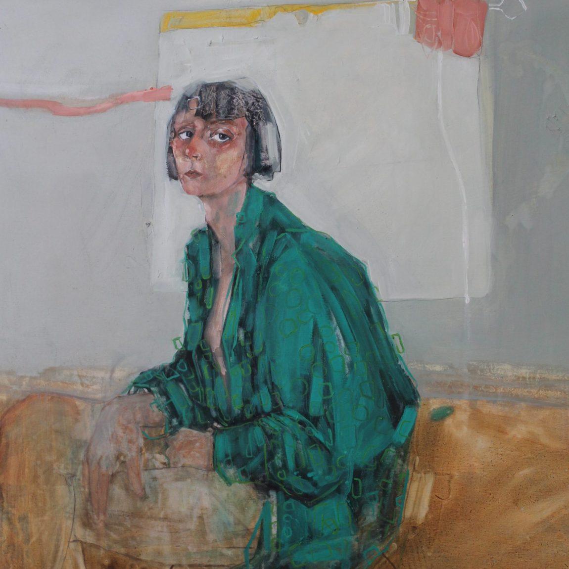 Eser Adı: Oturan Kadın - Teknik: Karışık Teknik Ölçü: 100 x 110 cm - Koleksiyon-