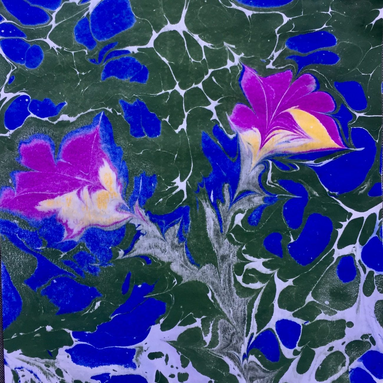 Space Flowers-Teknik: Ebru Tekniği Ölçü: 25 x 35 cm  Fiyat : 1.250 TL
