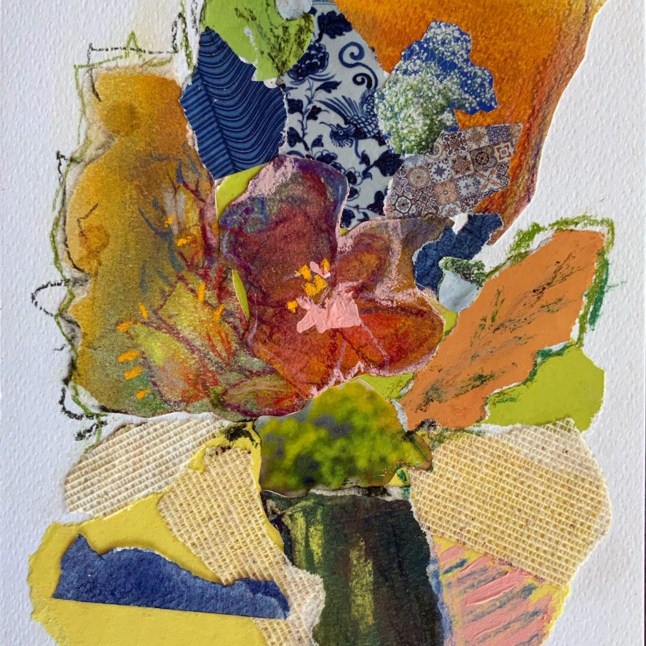 PEMBE KOLAJ 11 Teknik:Kağıt Üzeri Toz Pastel ve Kolaj Ölçü: 17x24 cm. 35x42 cm.(çerçeveli) Fiyat : 944 TL