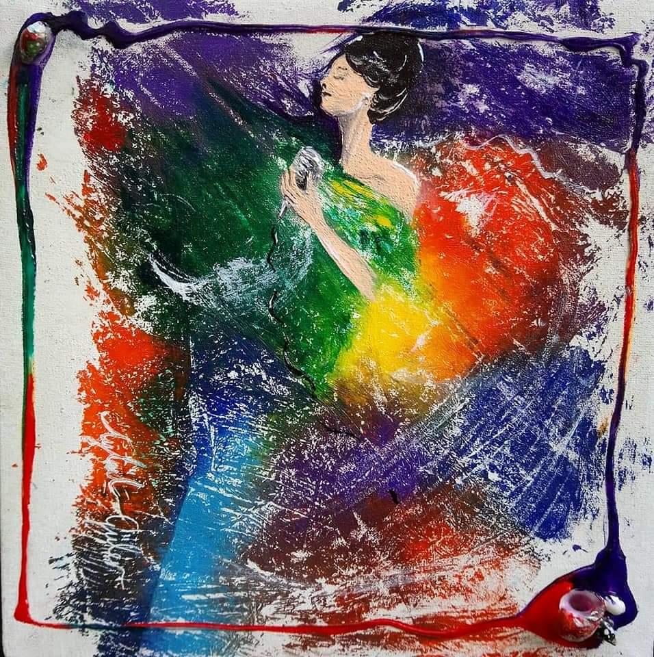 Şarkı Söyleyen Kadın  Teknik:Tuval üzeri akrilik Ölçü : 25 x 25 cm Fiyat : 415 TL