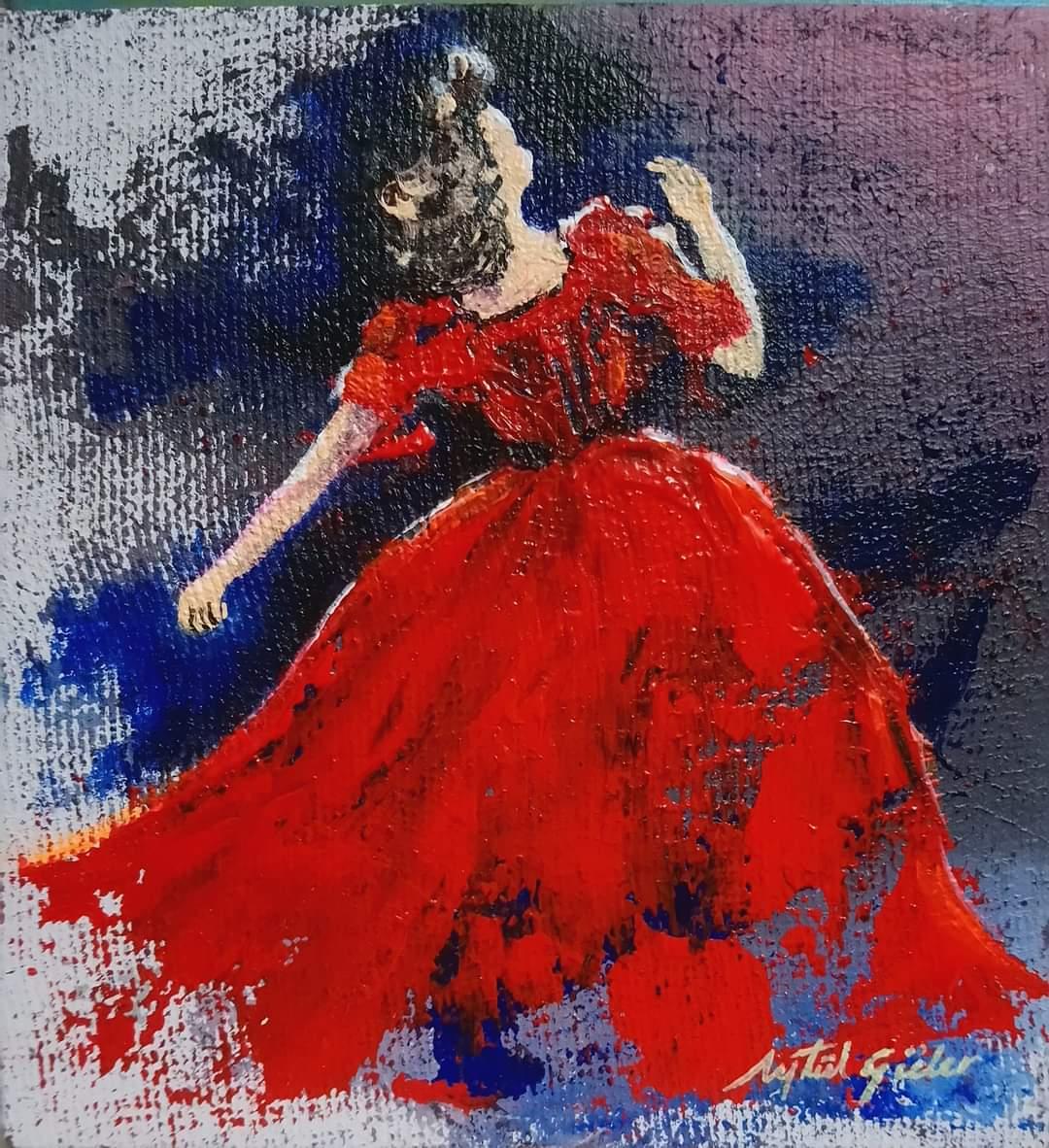 Kırmızı Elbiseli Kadın - Teknik: Tuval üzeri akrilik Ölçü: 22 x 22 cm Fiyat : 300 TL