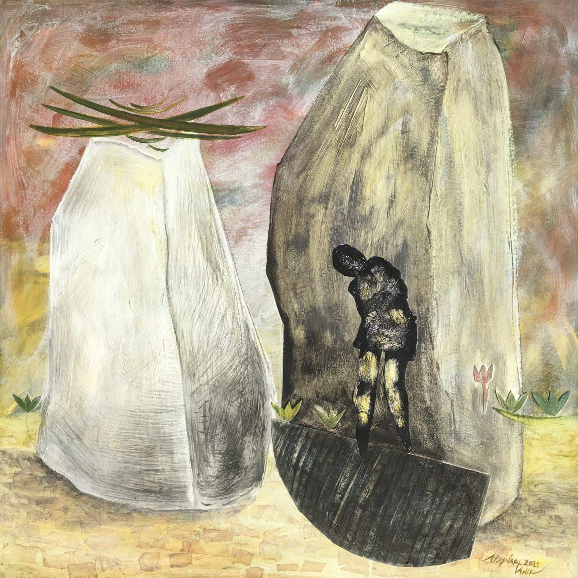"""Sanatçı : Ayben Kaynar Tanır - Eser Adı:""""Ülgen'in Ak ve Kara Taşları"""" - Teknik: Karışık Teknik - Ölçü: 60 x 60 cm - Fiyat : 3.540 TL"""