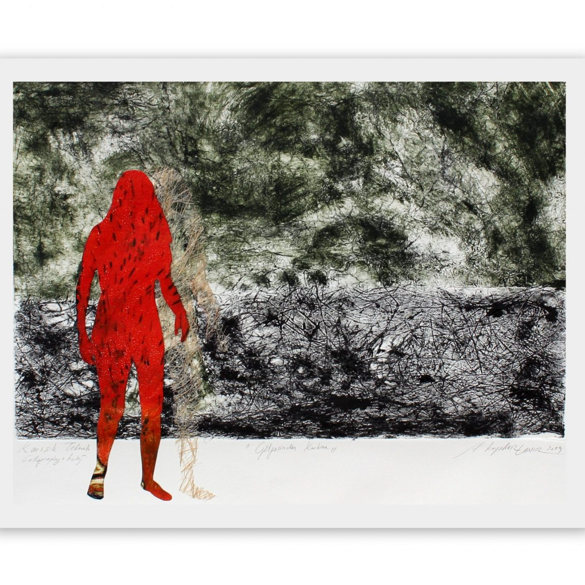 """Sanatçı : Ayben Kaynar Tanır - Eser Adı:""""Gölgesinden Korkan"""" - Teknik: Karışık Teknik - Ölçü: 56 x 74 cm - Fiyat : 2.950 TL"""