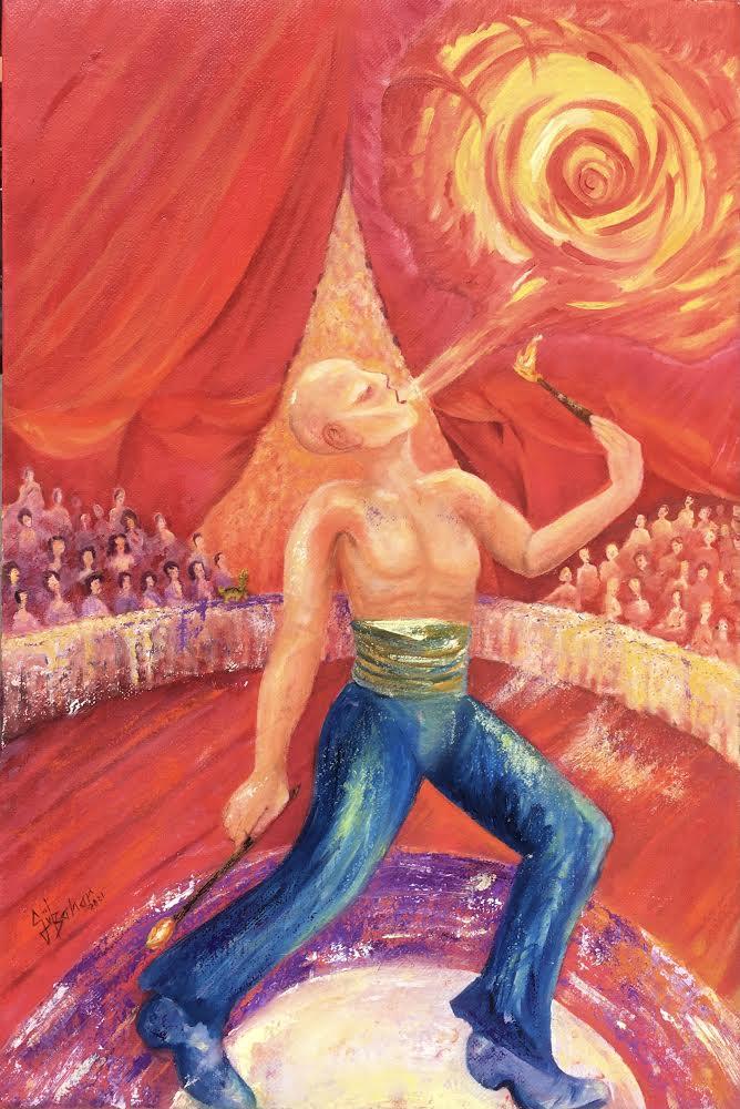 Sanatçı : Gülbahar Erdem  -  Eser Adı: Ateş Göstericisi  - Teknik: T.Ü. Yağlı Boya  - Ölçü: 70 x 90 cm-  Fiyat : 5.900  TL