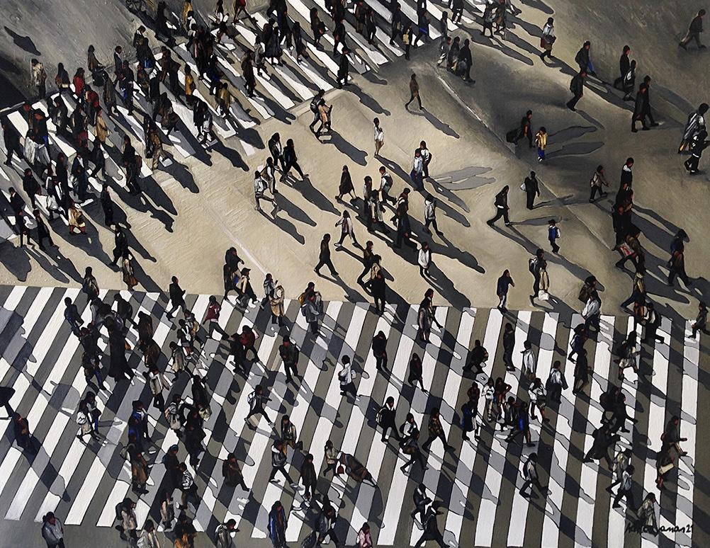 Sanatçı : Hatice Yaman  -  Eser Adı: İnsanlar / People  - Teknik: T.Ü.Yağlı Boya - Ölçü: 85 x 113 cm