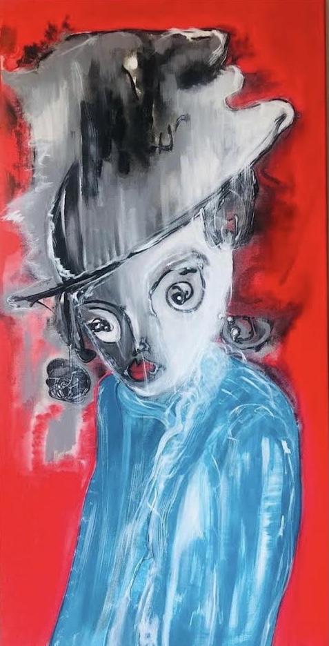 Sanatçı : Naz Gün Desde- Eser Adı: Perdeden Bakış  - Teknik: T.Ü. Akrilik - Ölçü: 50 x 100 cm -  Fiyat : 14.160 TL