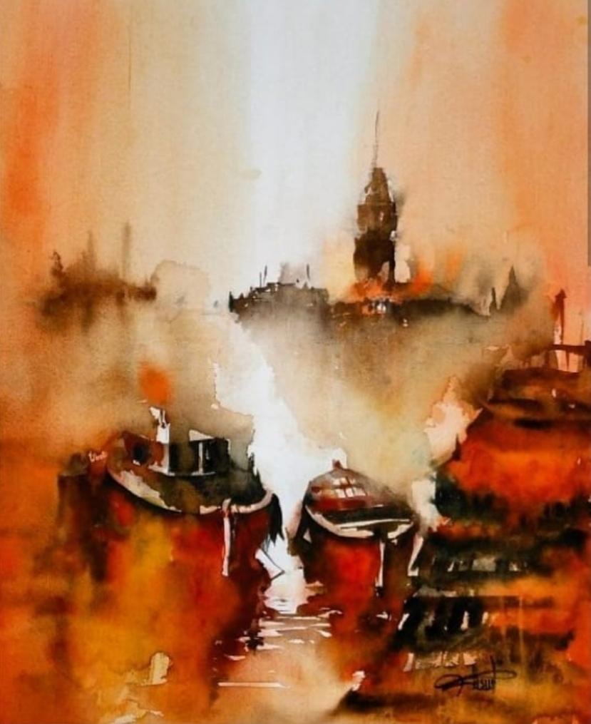 Sanatçı : Füsun Kuseyrioğlu -  Eser Adı:  Kızkulesi - Teknik: Sulu Boya - Ölçü: 38 x  56 cm-  Fiyat : 2.360  TL