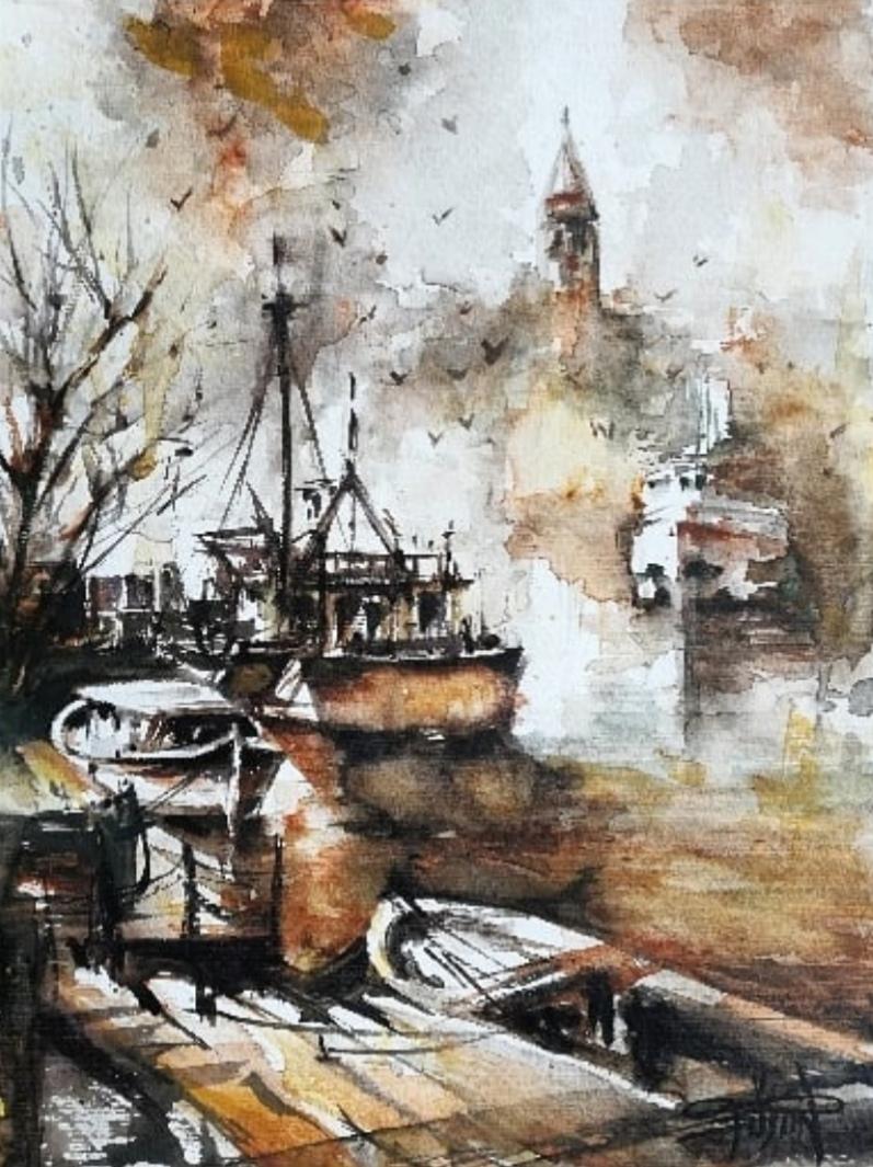 Sanatçı : Füsun Kuseyrioğlu -  Eser Adı: İstanbul  - Teknik: Sulu Boya - Ölçü: 30 x  40 cm-  Fiyat : 1.770  TL