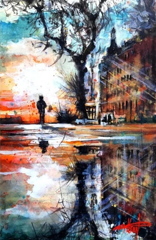 Sanatçı : Füsun Kuseyrioğlu -  Eser Adı: Haydarpaşa  - Teknik: Sulu Boya - Ölçü: 24 x  36 cm-  Fiyat : 1.770  TL