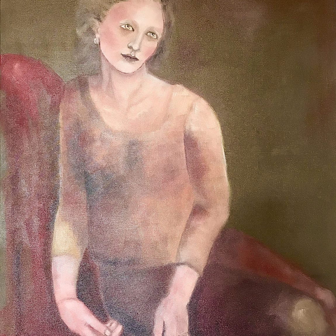 Artist: Pınar Türe Gürsoy -Category: Painting - -Title of Artwork: On the Sofa- Technique: Oil colour on canvas - Date of Realisation: 2019- Dimensions: 60/80 cm- Price: 3.850 TL