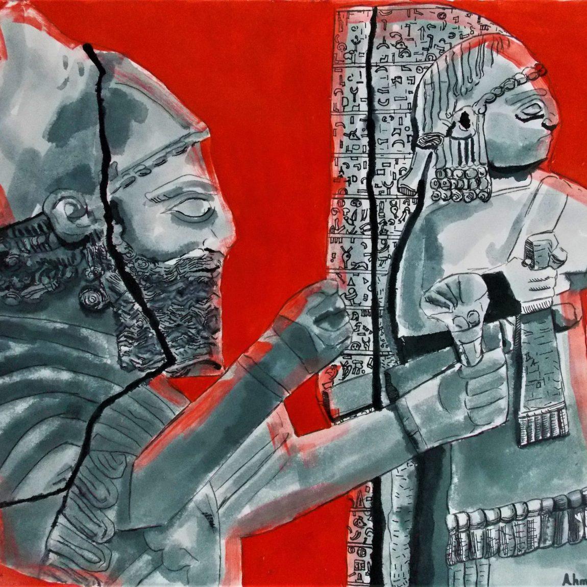 Hitit  Kralı Barrakib ve Aramice  Yazıt Teknik: Kağıt Üzerine Karışık Teknik Ölçü: 34 x 44 cm Fiyat:1500 TL