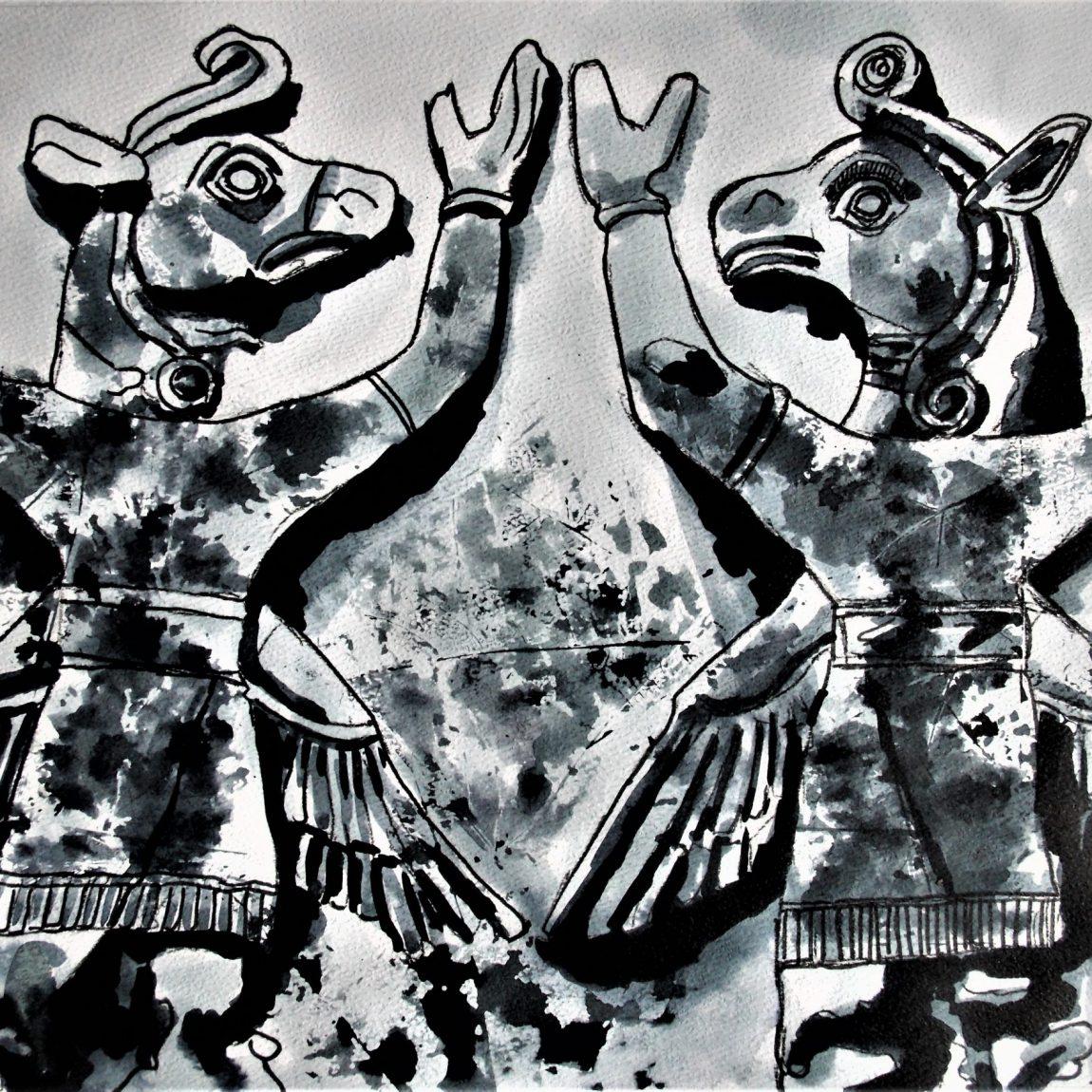 Hitit Dans İmgeleri I Teknik: Karışık Teknik Ölçü: 25 x 37.5 cm Fiyatı: 1000 TL