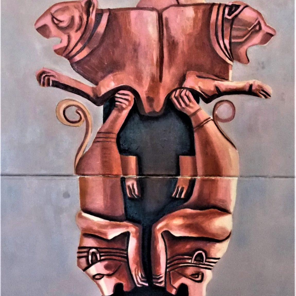 Hitit Yeraltı/ Kılıç Tanrısı Negral Teknik: Tuval Üzerine Yağlıboya Ölçü: 80 x 160 cm Koleksiyon