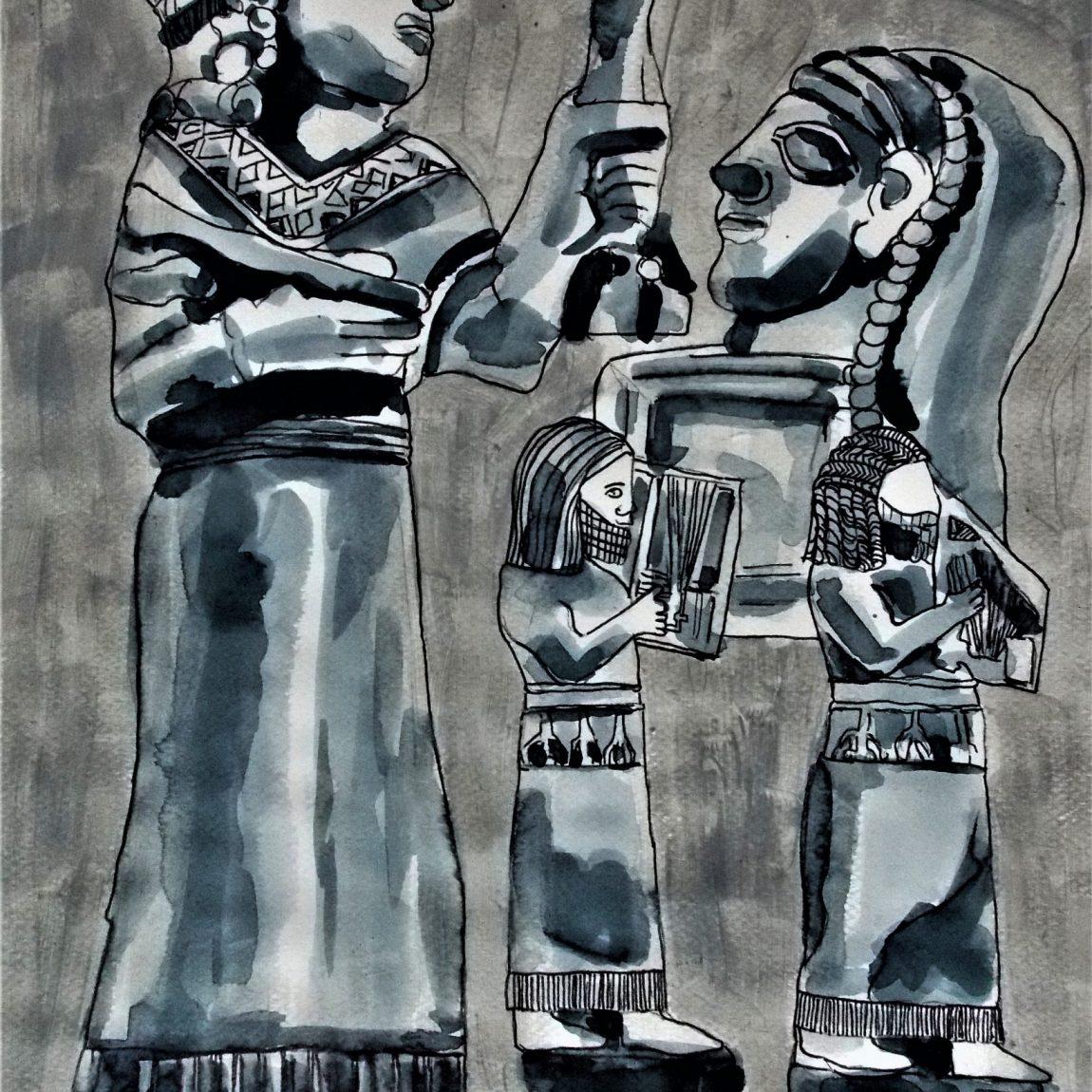 Unutulmuş Krallar ve kutlamalar Teknik: Karışık Teknik Ölçü: 28 x 44.5 cm Fiyatı: 1000 TL