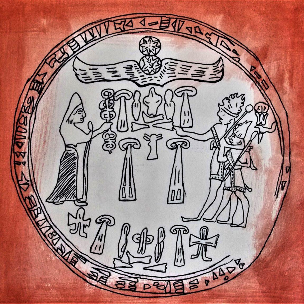 Hitit Kralı IV. Tuthalias Mühürü Teknik: Karışık Teknik Ölçü: 24 x 32 cm Fiyatı: 750 TL