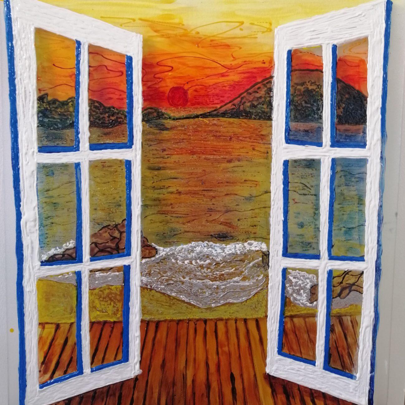 Penceremden Çatal Adası Teknik:Buzlu Cam Üzeri Cam Boyama Ölçü:42 x 52 cm