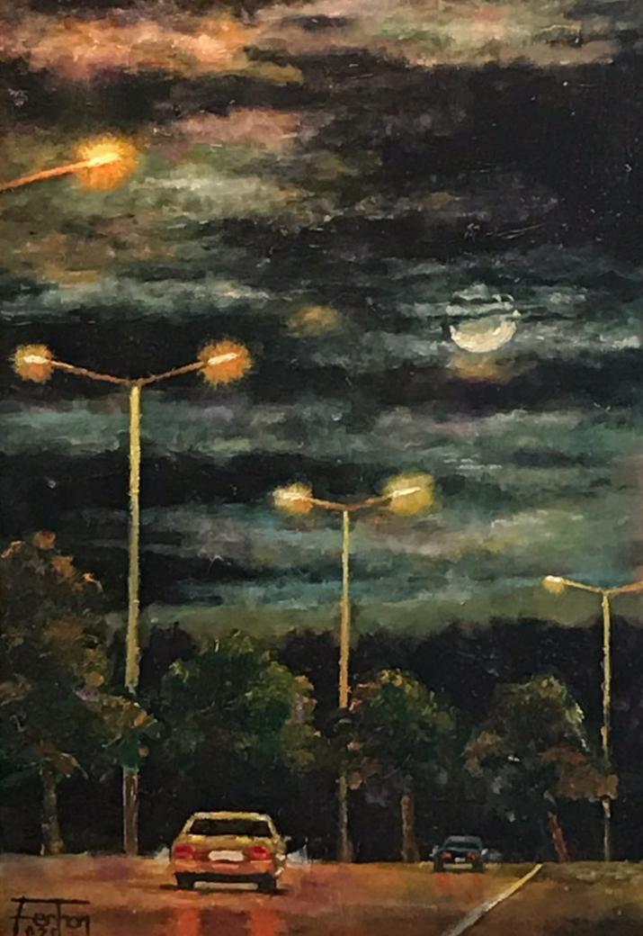 Edremit Gece Trafiği Teknik : Yağlı Boya Ölçü : 24 x 39 cm