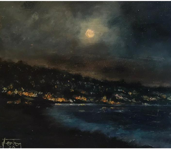 Pelitköy Gecesi  Teknik:Yağlı Boya Ölçü: 20,5 x 17.5 cm