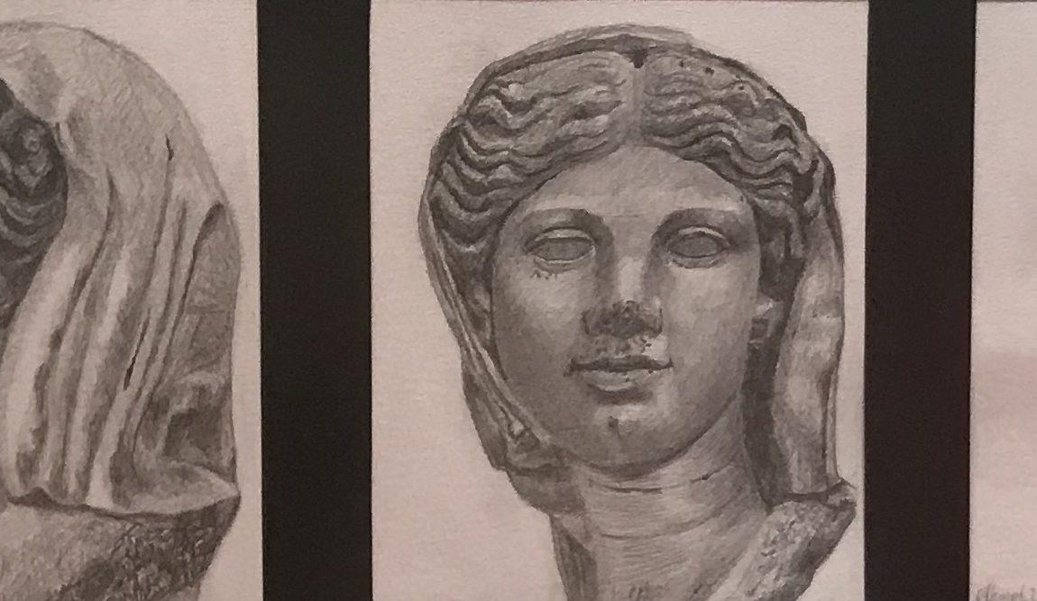 Ahmet Uzuner Hadrianus Dönemine ait Genç Kadın  Portreleri  Teknik:Kağıt Üzerine Karakalem Çalışması Ölçü:17 x 42 cm Koleksiyon