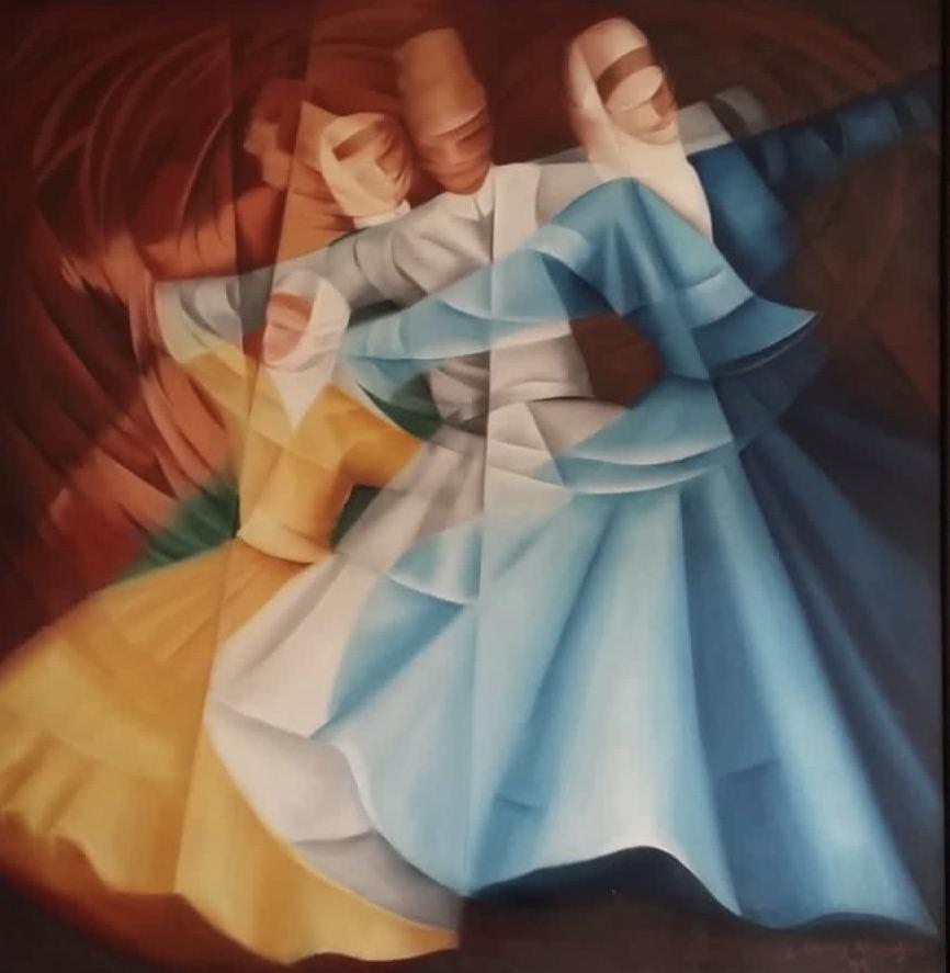 Zeynep Nuray Atasagun  Eser Adı: Dünya'nın Dönüşüne İnsanın Katılımı Teknik: Tuval Üzeri Yağlı Boya Ölçü: 130 x 89 cm  Fiyat : 12.980 TL