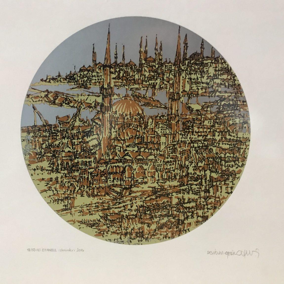Devrim Erbil Teknik: Özgün Baskı  Çap :  28  cm  Fiyat : 3.500 TL