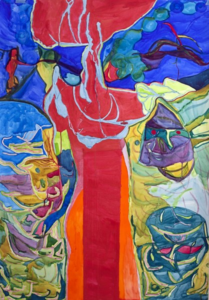 PERİHAN ALTANLAR - Kırmızılı Kadın Teknik: Kağıt Üzeri Suluboya Ölçü: 104 x 150 cm  Fiyat : 5.900 TL
