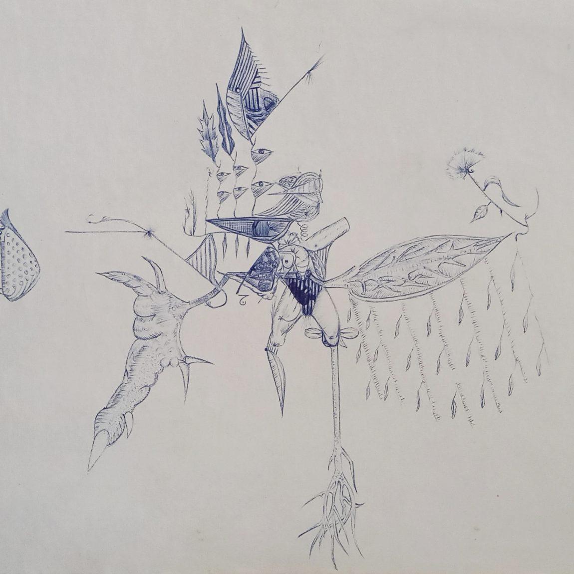 ECEVİT ÜRESİN Teknik: Kağıt  Üzeri Mürekkepli Kalem Ölçü: 25 x 20 cm  Fiyat : 590 TL