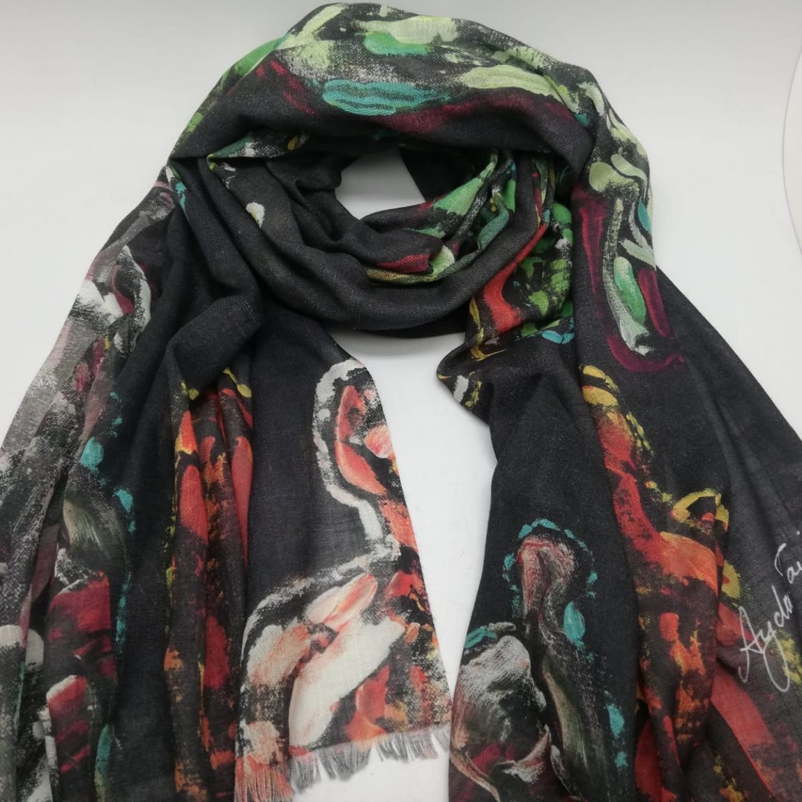 AYDA TAVİL-This collection is made out of individually curated exclusive foulards , representing unique art masterpieces by Ayda Tavil. Product details :180x70 cm Cotton , bambu and pa Dry clean only Price:550 TL Made in İstanbul , Turkey