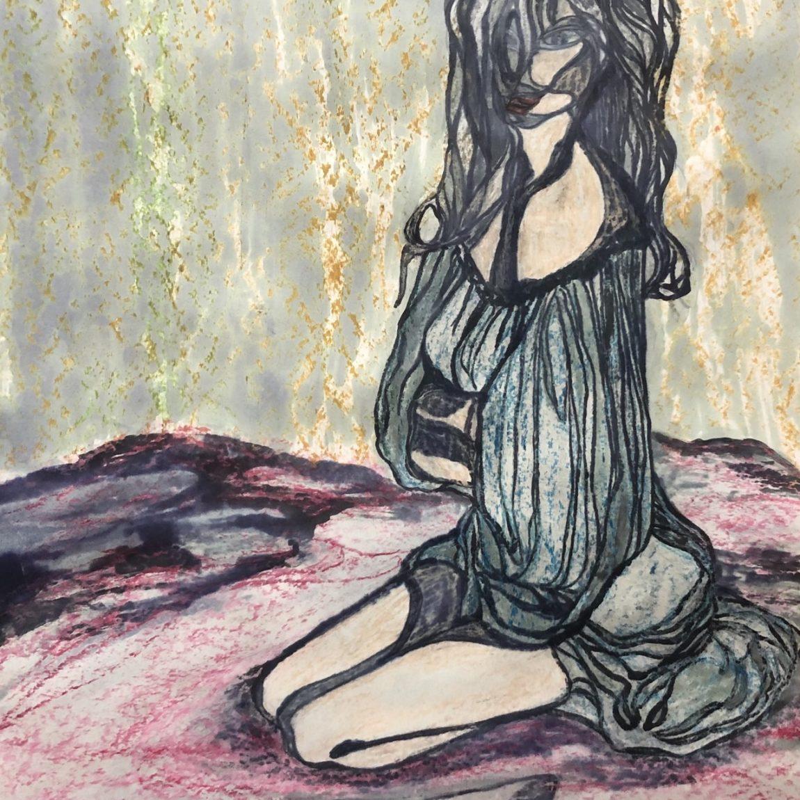 NİLGÜN TEMİZ - Eser Adı : Kadın   Teknik: Kağıt Üzeri Mürekkep/ Pastel boya Ölçü: 37,5 x 56,5  cm  Fiyat : 1.416 TL