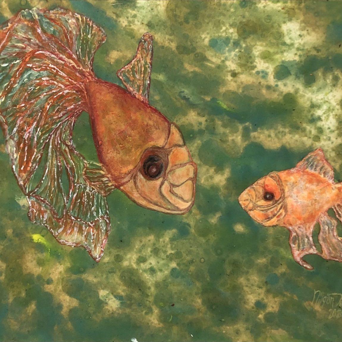 NİLGÜN TEMİZ - Eser Adı : Gölde Balıklar  Teknik: Yağlı Ebru Kağıdı Üzeri Akrilik Ölçü: 25 x 34 cm  Fiyat : 2.360 TL