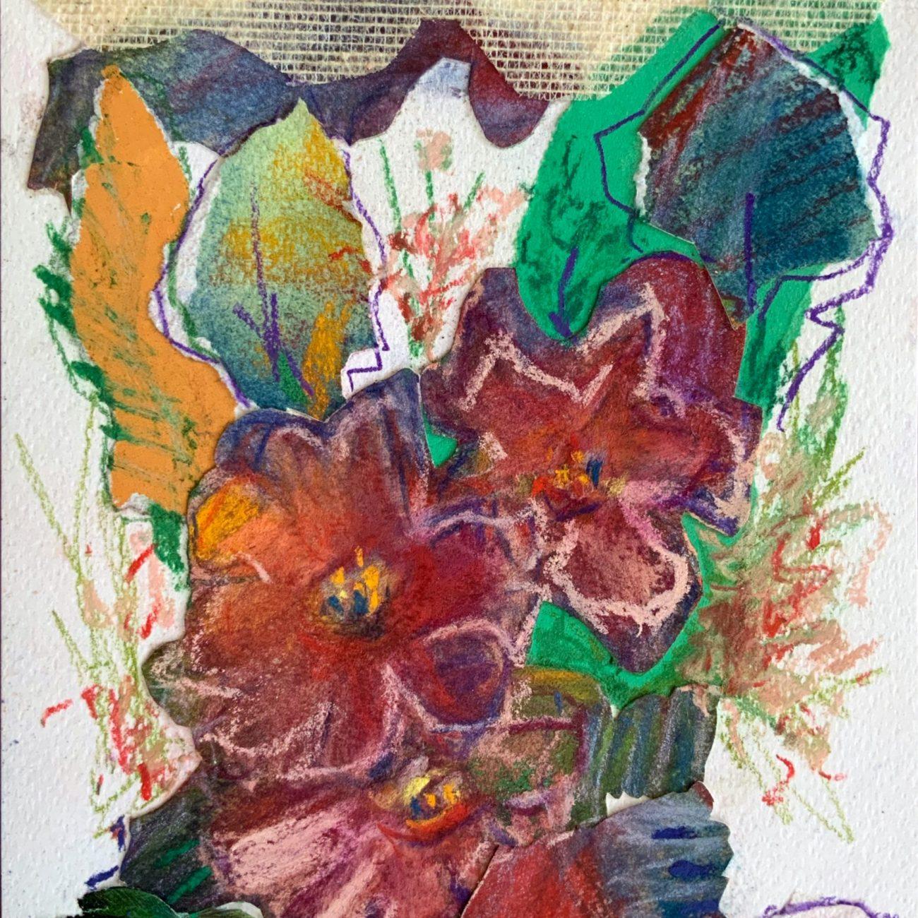 PEMBE KOLAJ 12 Teknik:Kağıt Üzeri Toz Pastel ve Kolaj Ölçü: 17x24 cm. 35x42 cm.(çerçeveli) Fiyat : 944 TL