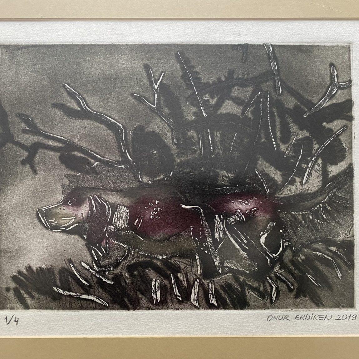 Yıldırım Onur Erdiren - Eser Adı : Doğa Teknik: Gravür Baskı  Ölçü: 35 x 50 cm Fiyat : 1.180 TL