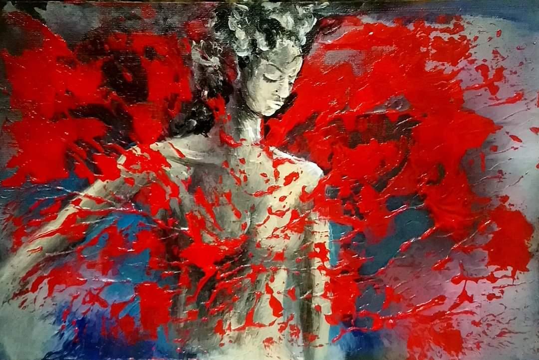 Kadın - Teknik: Press tuval üzeri doku uygulaması ile akrilik boya Ölçü : 33 x 22 cm Fiyat : 590 TL