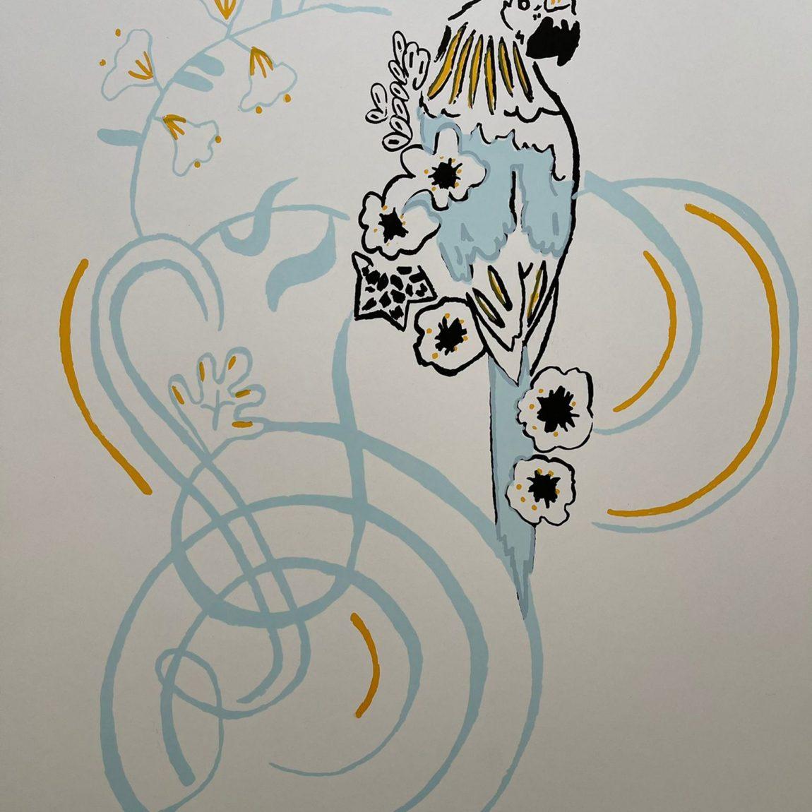 Yıldırım Onur Erdiren - Eser Adı : Papağan Teknik: Serigrafi Baskı Ölçü: 35 x 50 cm Fiyat : 885 TL