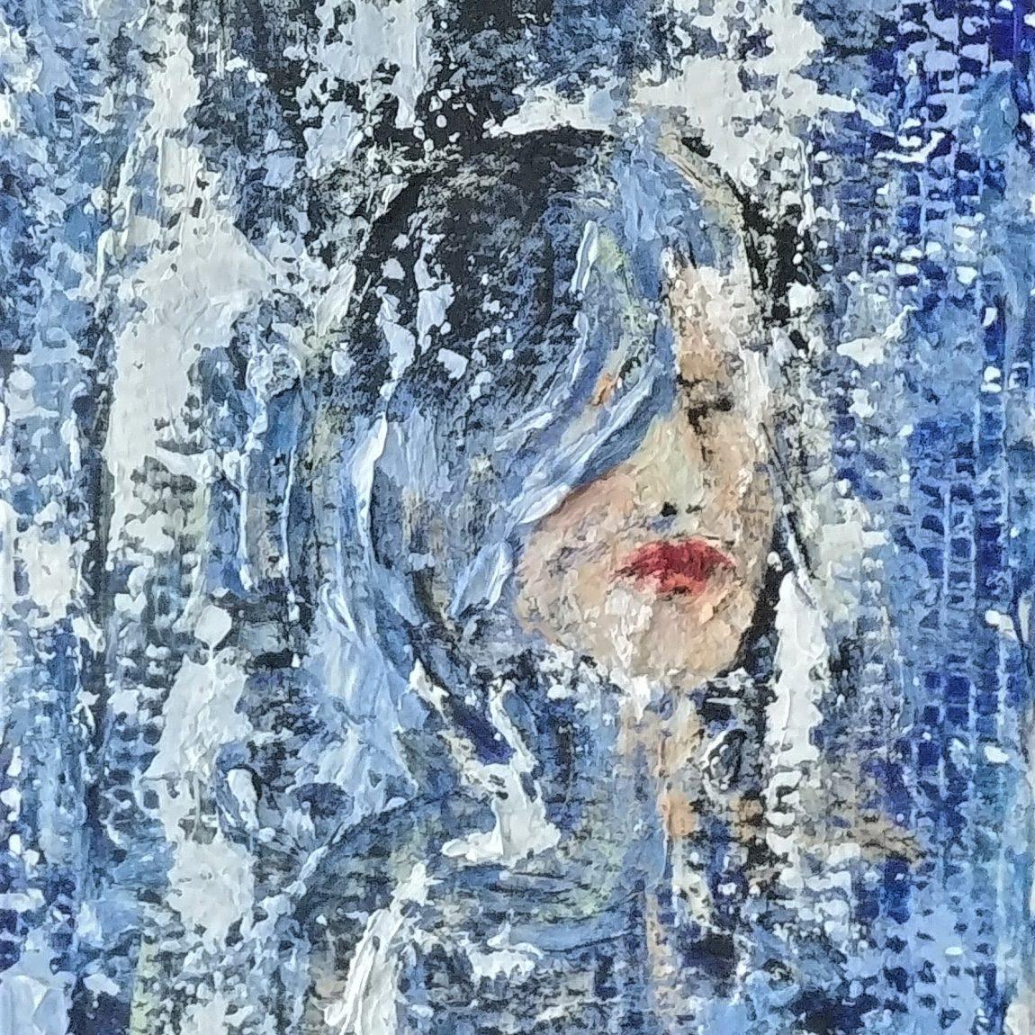 Sanatçı : Füsun Uzunoğlu -  Eser Adı: Boğulan Kadın  - Teknik: Mukavva Ü. Akrilik  - Ölçü: 38 x 27 cm-  Fiyat : 3.360  TL
