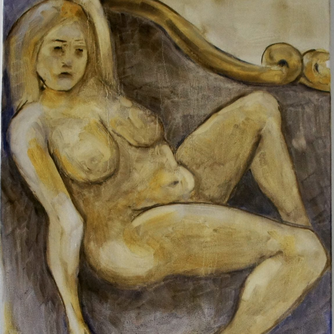 Artist: Pınar Türe Gürsoy-Category: Painting  Title of Artwork: Nude on Chaise lounge Technique: Oil Colour on Canvas  Date of Realisation: 2021 Dimensions: 50/70 cm Price: 2.360 TL