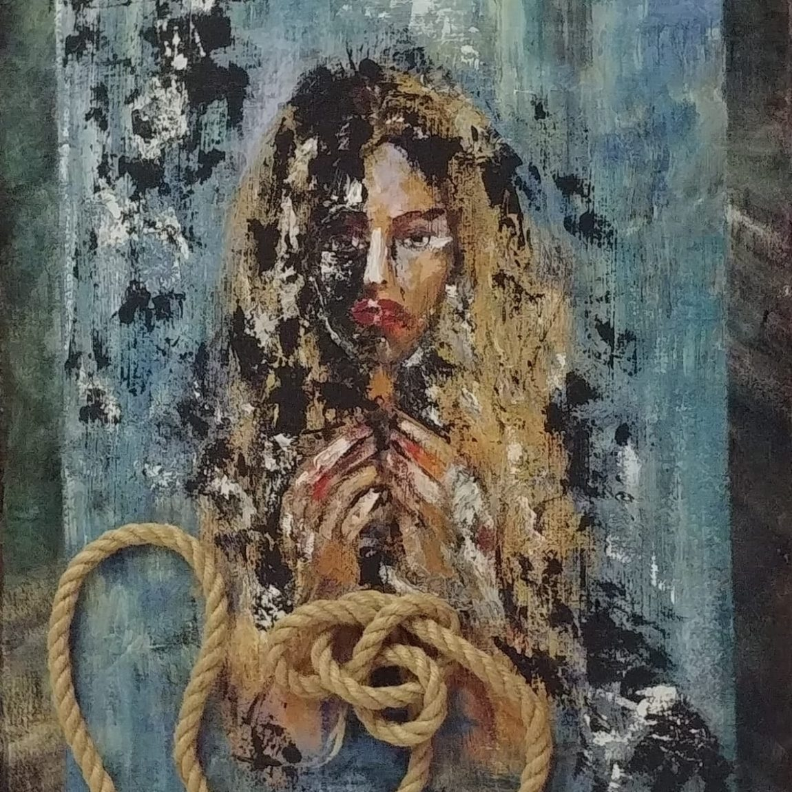 Sanatçı : Füsun Uzunoğlu -  Eser Adı: Elleri Bağlı Kadın  - Teknik: Mukavva Ü. Akrilik  - Ölçü: 45 x 50 cm-  Fiyat : 3.550  TL