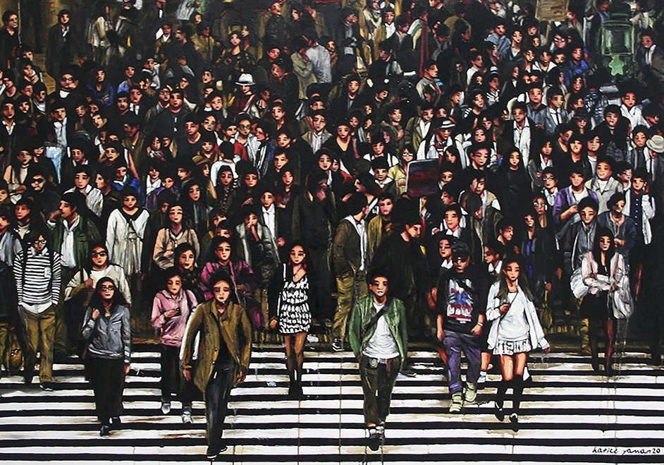 Sanatçı : Hatice Yaman  -  Eser Adı: İnsanlar / People  - Teknik: T.Ü.Yağlı Boya - Ölçü: 73 x 104 cm