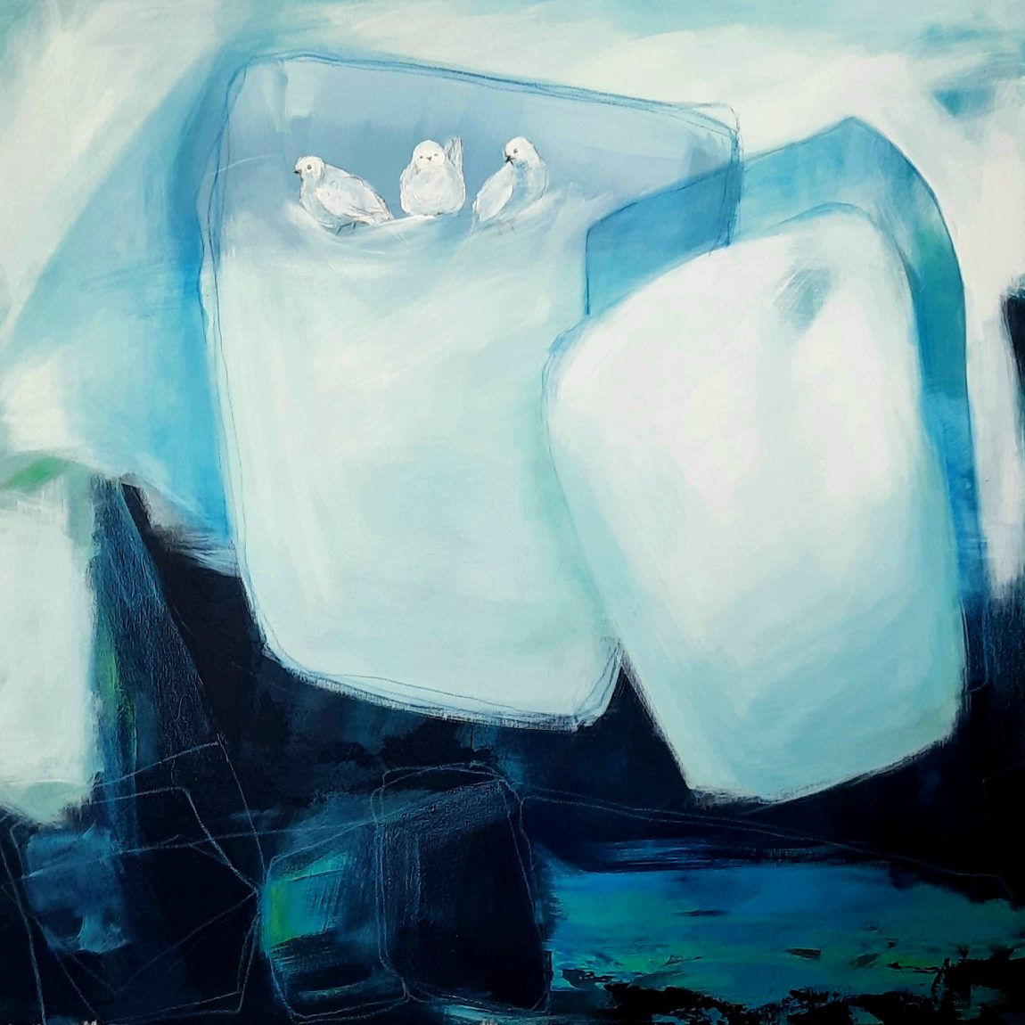 """Sanatçı : Dilek Ayebe- Eser Adı:""""İyiliğin sonuçlarına inanıyoruz """"-  Teknik:  T.Ü.Karışık Teknik- Ölçü: 100 x 100 cm  - Fiyat : 10.650 TL"""