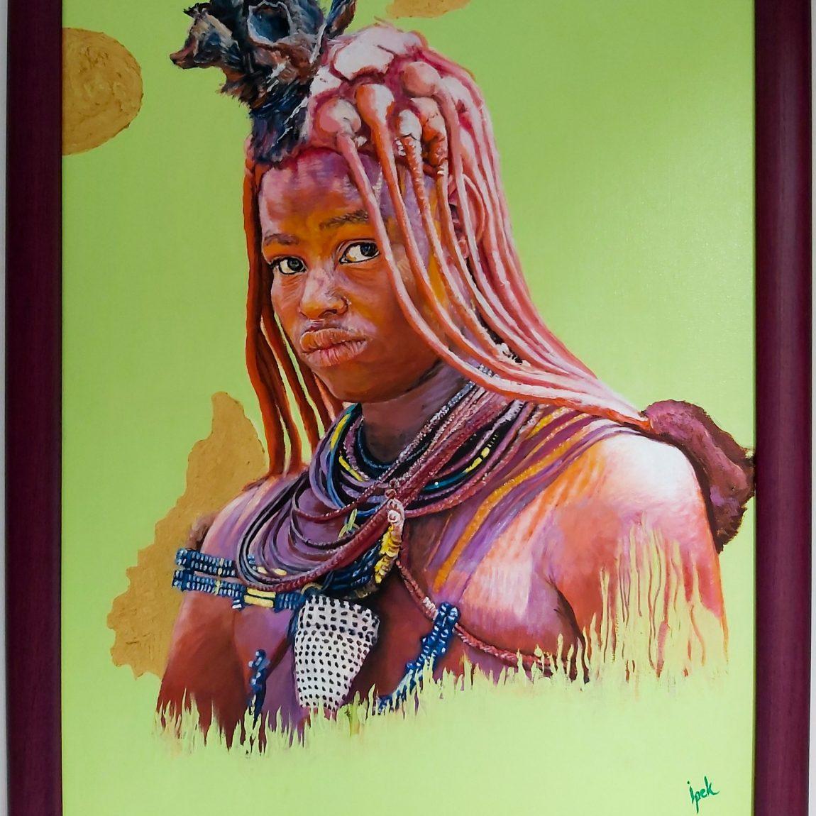 Sanatçı : İpek Chi   - Eser Adı: Himba Girl Teknik: Tuval Ü.Yağlı Boya Teknik- Ölçü: 40 x 55 cm - Fiyat : 2.596 TL