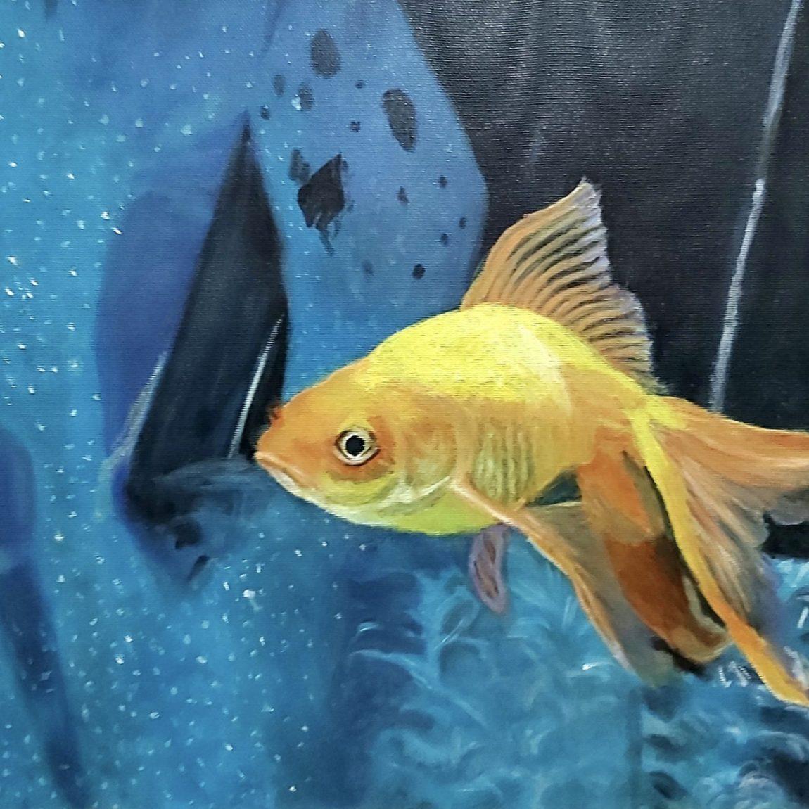 İpek Chi - Eser Adı : Lucky fish: - Teknik: Tuval Üzeri Yağlı Boya - Ölçü: 50 x 30 cm - Fiyat : 1.100 TL