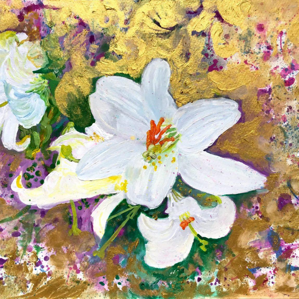 İpek Chi - Eser Adı :White Lillies - Teknik: Dokulu Kağıt Üzeri Yağlı Boya - Ölçü: 50 x 30 cm - Fiyat : 800 TL